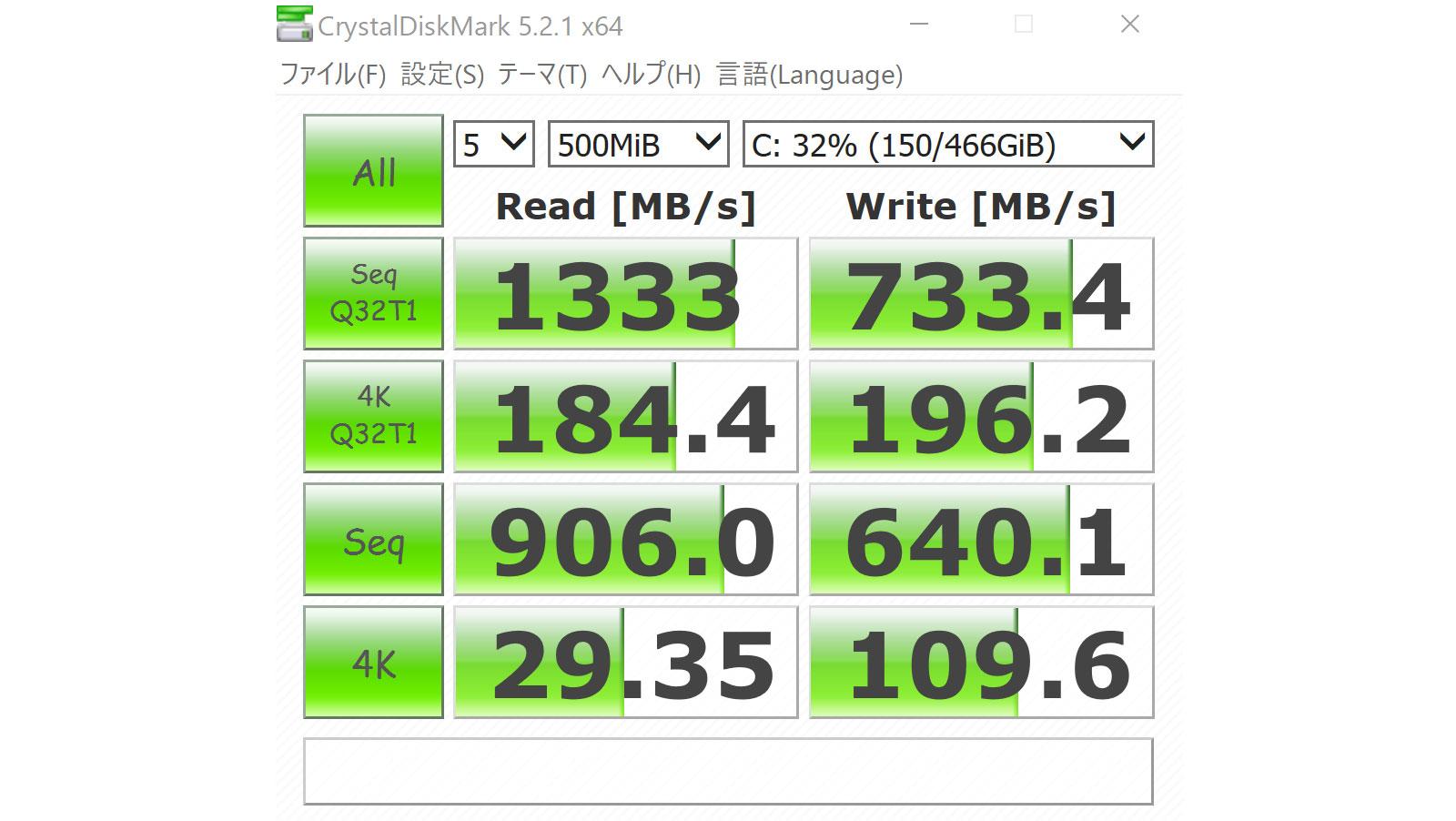 XPS13のSSD速度