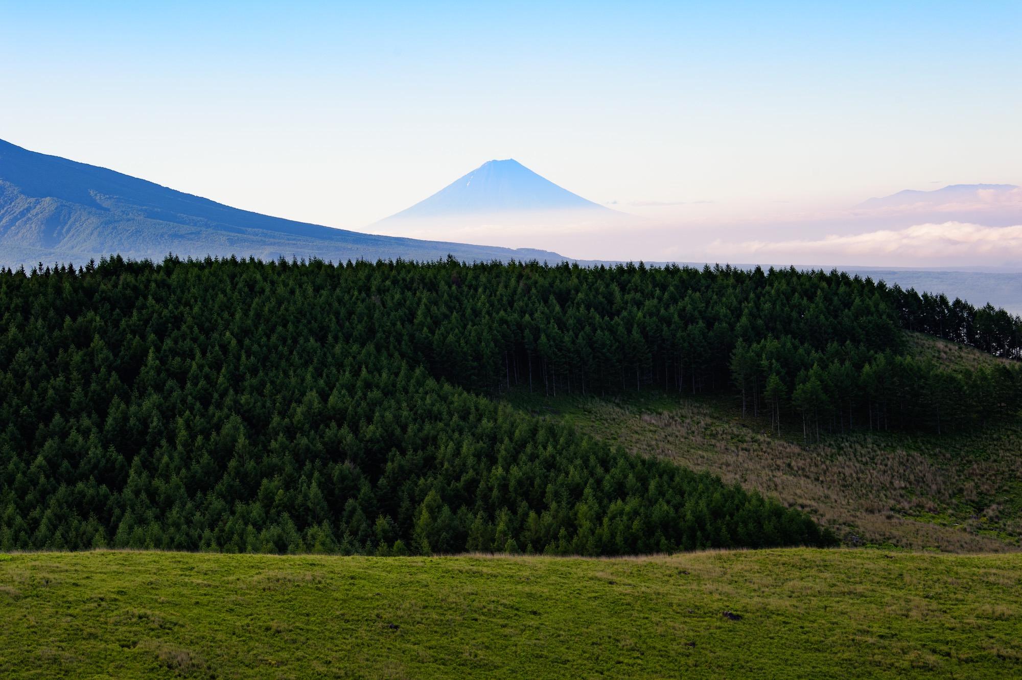 八ヶ岳の稜線と富士山