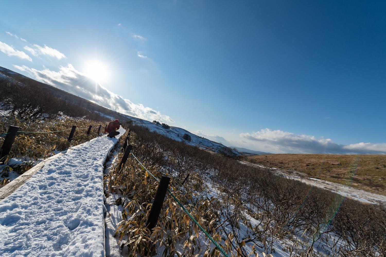 冬の霧ヶ峰で撮影