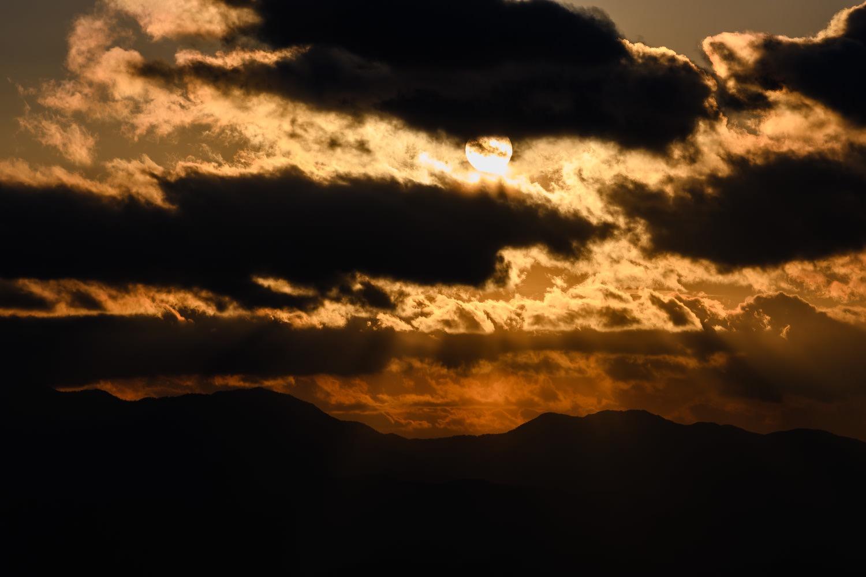 霧ヶ峰からの夕日