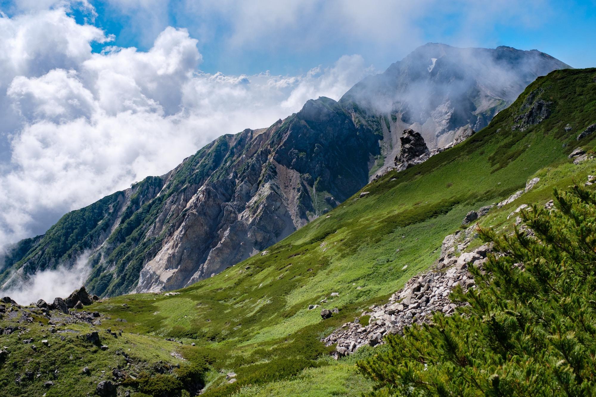 白馬三山の稜線