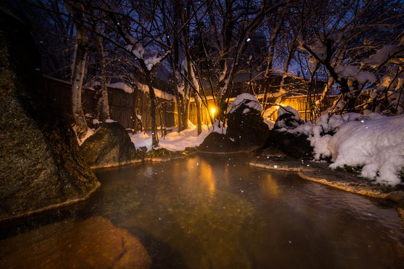 露天風呂の撮影