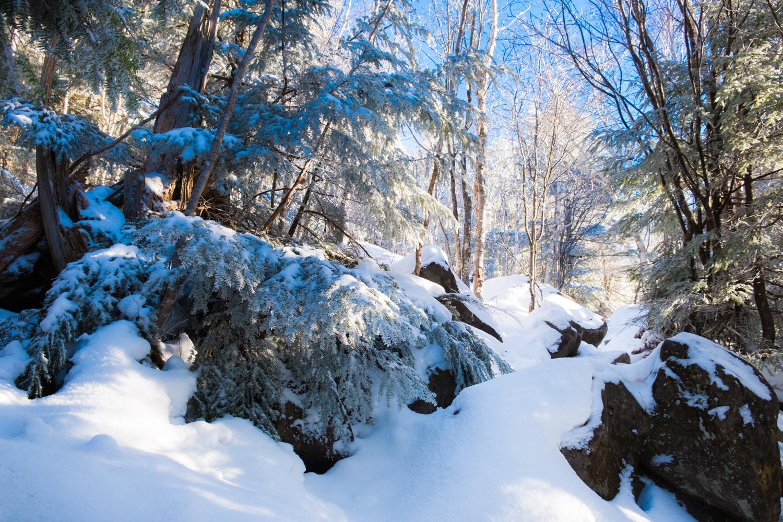 雪と岩のミックスルート