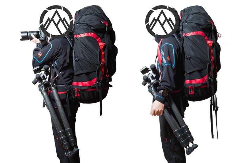 ザックを背負ったまま三脚を使用できるスリングシステム