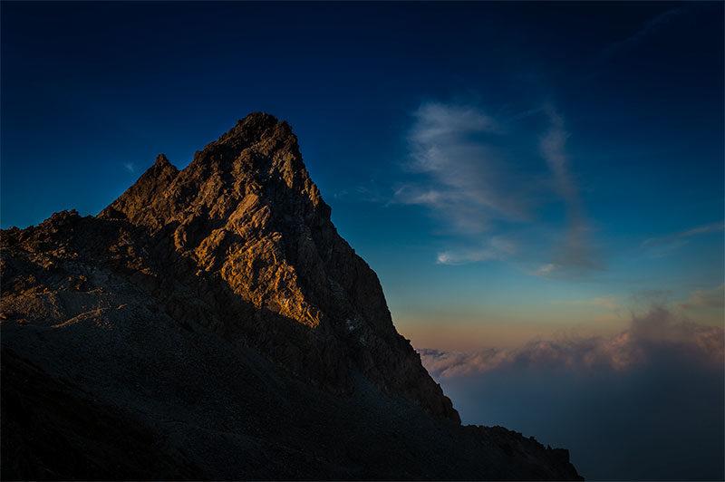 槍ヶ岳の夕方